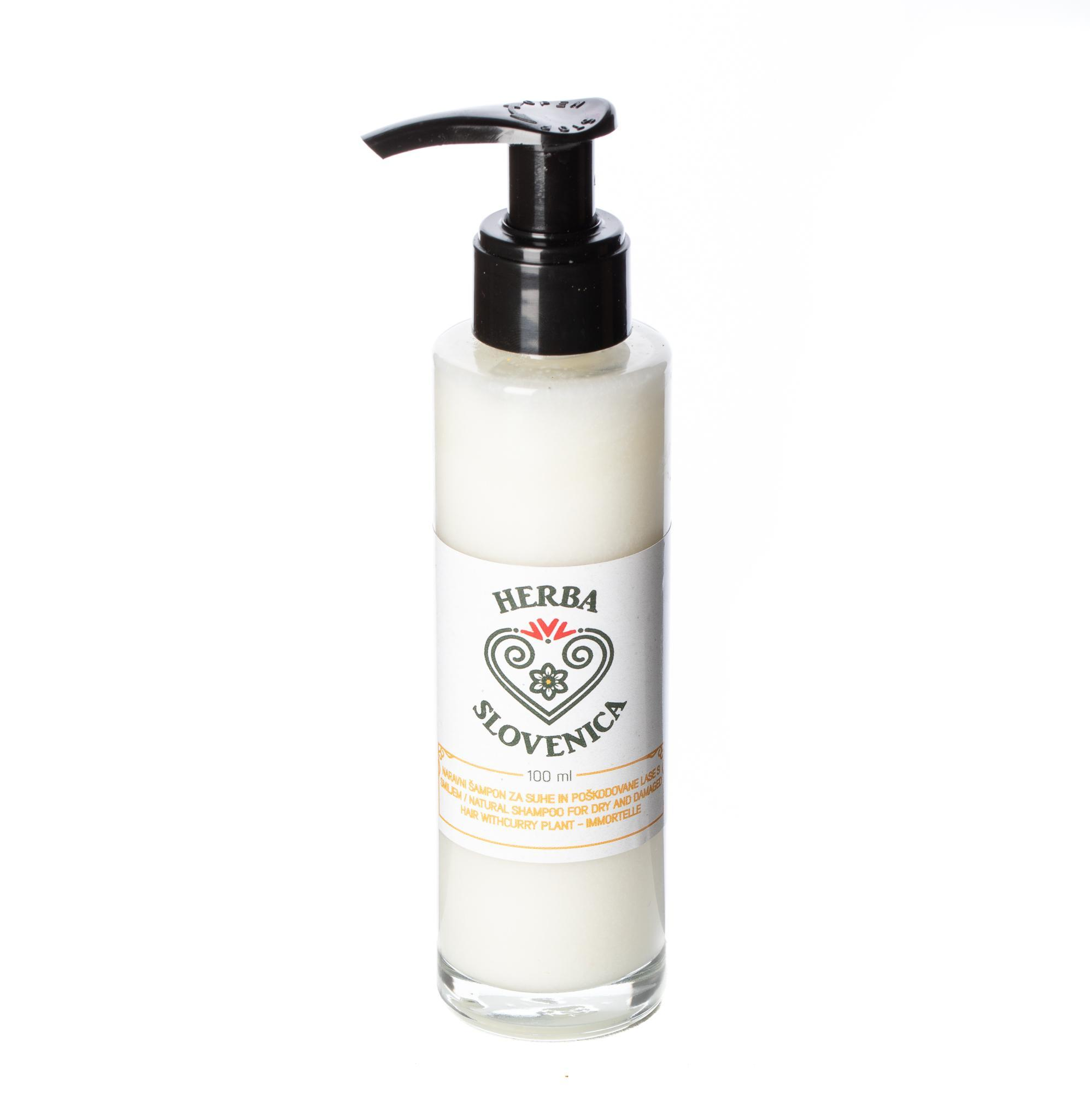 Herba Slovenica Naravni šampon za suhe in poškodovane lase s smiljem